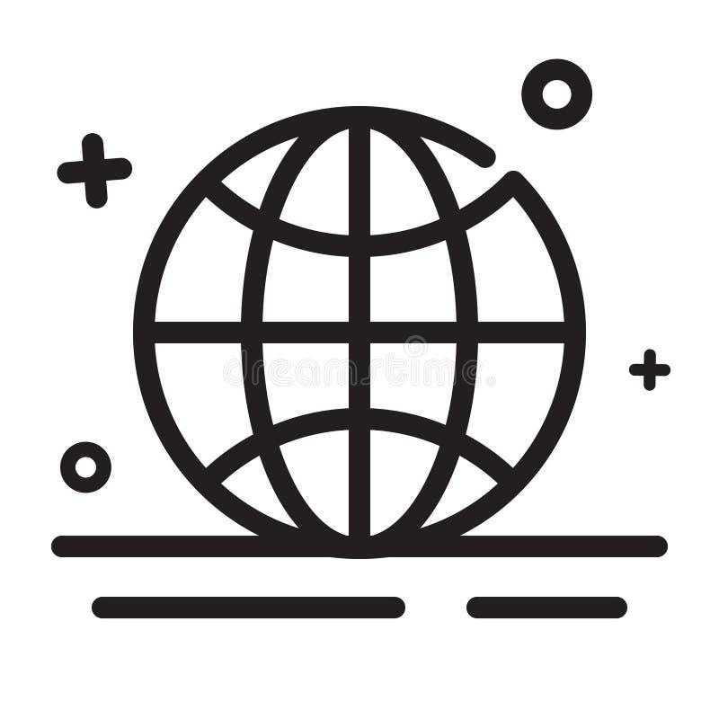Graphisme de vecteur Dans le monde entier, globe, icônes de navigateur Icônes modernes d'ensemble pour tous buts illustration libre de droits