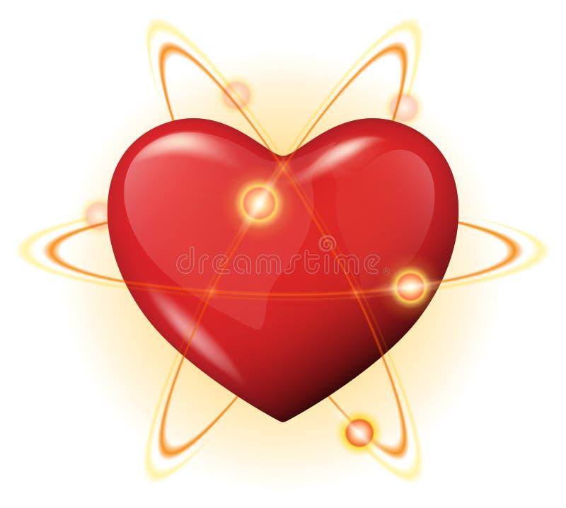 graphisme de vecteur de protection du coeur 3d - pouvoir d'atome illustration de vecteur