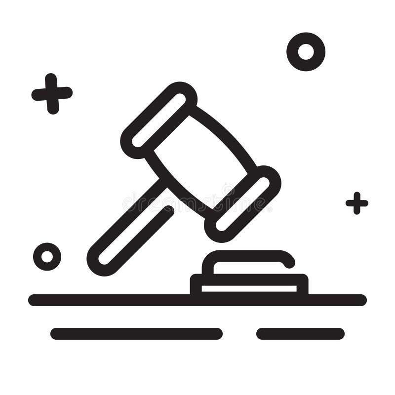 Graphisme de vecteur marteau, juridique, loi, icône de juge, icône moderne d'ensemble illustration de vecteur