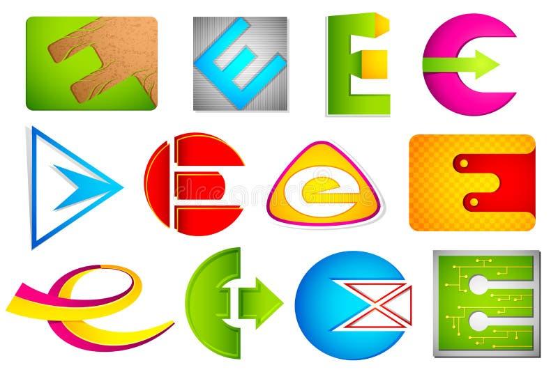 Graphisme différent avec l'alphabet E illustration stock