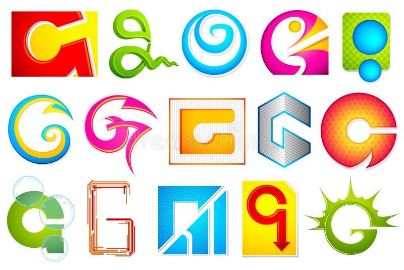 Graphisme différent avec l'alphabet G illustration libre de droits