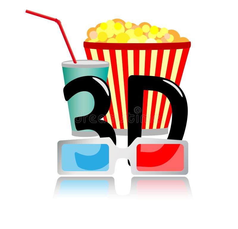 graphisme du cinéma 3D illustration de vecteur