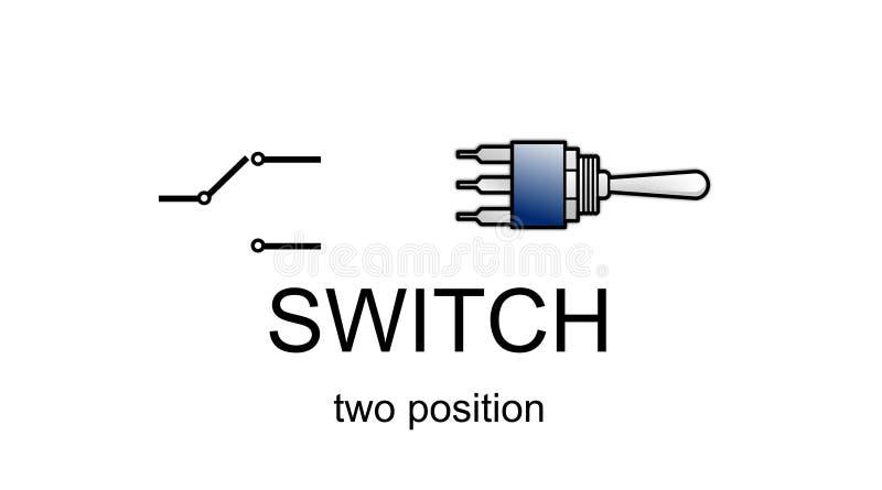 Graphisme et symbole de commutateur à deux positions illustration stock