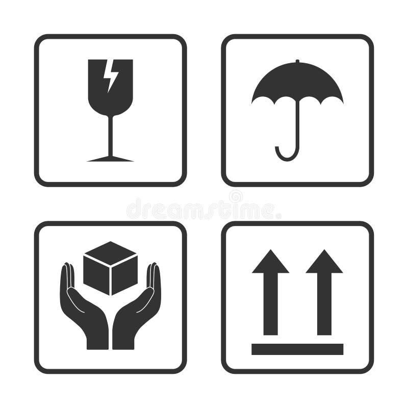 Graphisme fragile Ensemble de empaquetage d'ic?ne de symbole Illustration de vecteur, conception plate illustration de vecteur