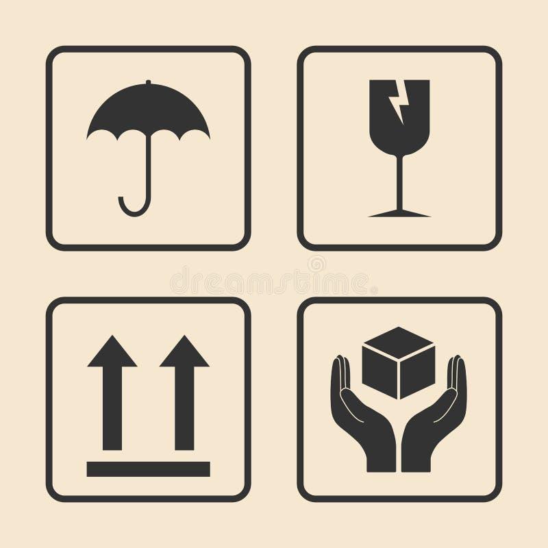 Graphisme fragile Ensemble de empaquetage d'ic?ne de symbole Illustration de vecteur, conception plate illustration stock