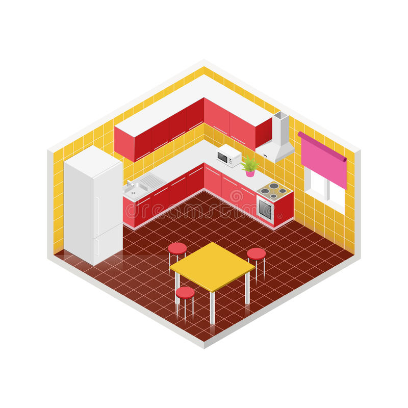Graphisme isométrique de cuisine de vecteur illustration stock