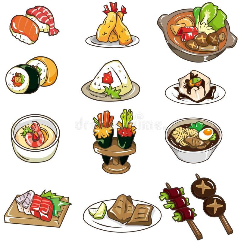 Graphisme japonais de nourriture de dessin animé illustration stock