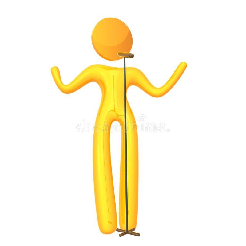 Graphisme jaune élastique de chanteur d'idole de humanoid illustration libre de droits