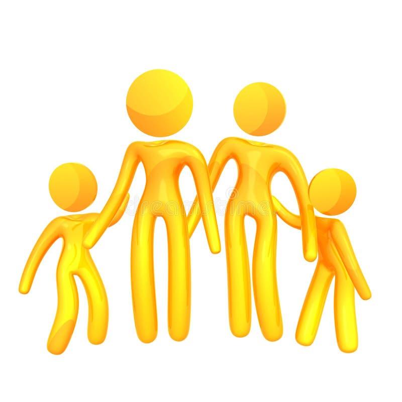 Graphisme jaune élastique de famille de humanoid illustration de vecteur
