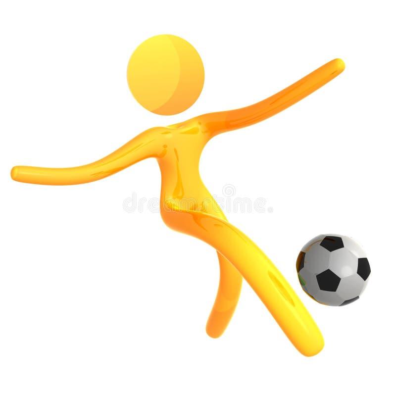 Graphisme jaune élastique de humanoid donnant un coup de pied la bille de football illustration stock