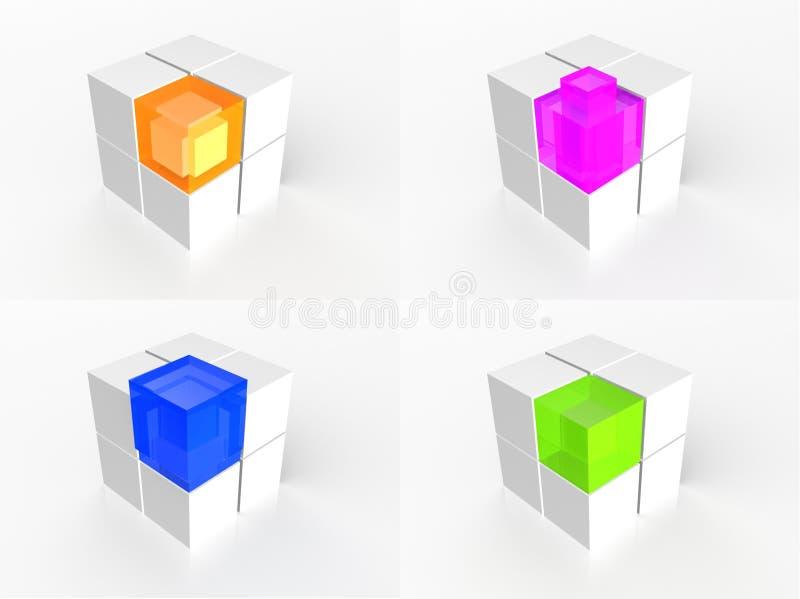 Graphisme multi transparent de cube en couleur illustration de vecteur