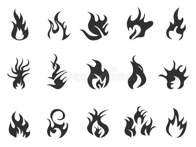 Graphisme noir de flamme illustration de vecteur