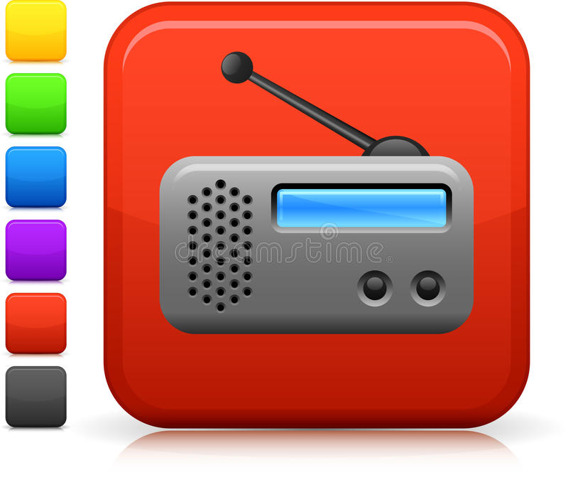 Graphisme par radio sur le bouton carré d'Internet illustration stock