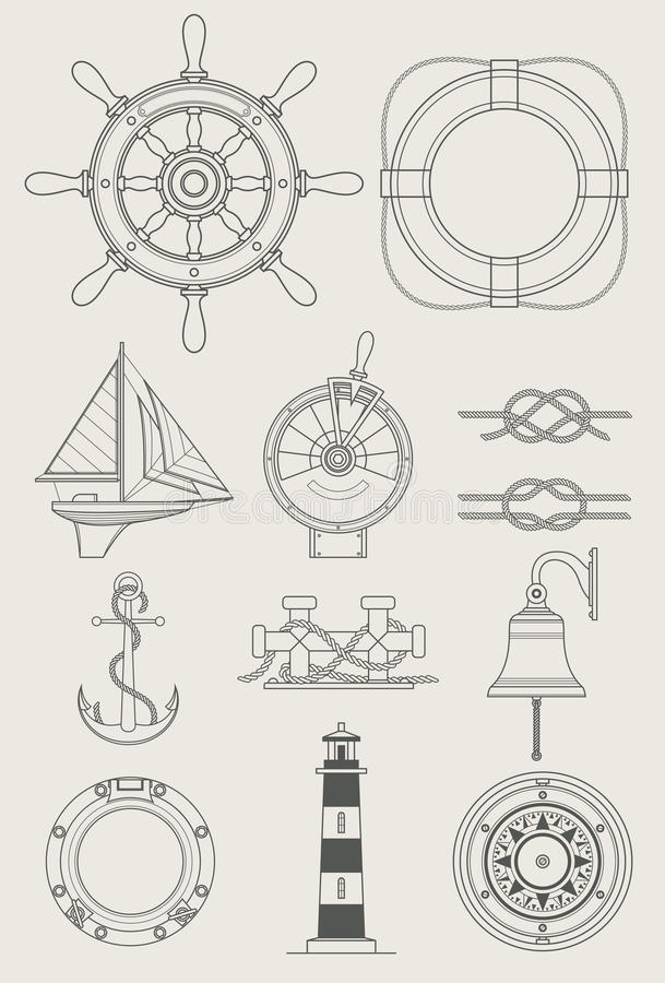 Graphisme réglé de bateau de mer illustration stock