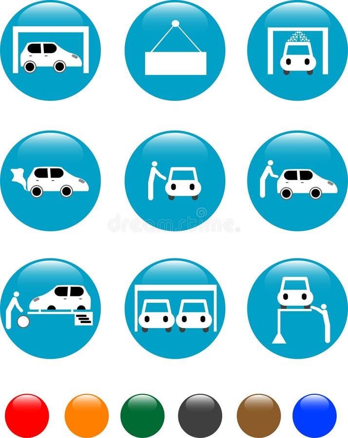 Graphisme réglé de bouton bleu automatique de service de véhicule illustration libre de droits