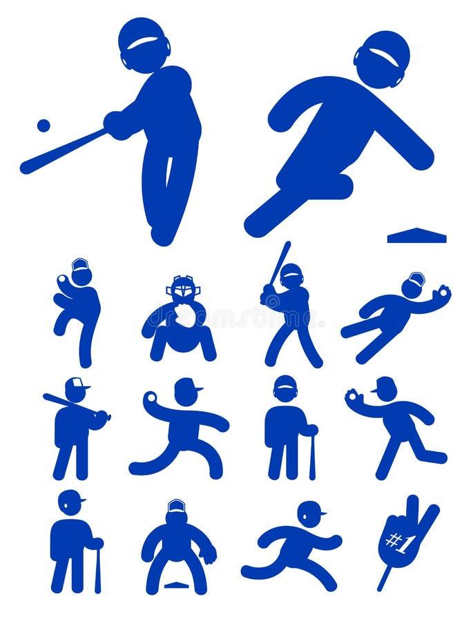 Graphisme réglé de joueur de baseball illustration stock