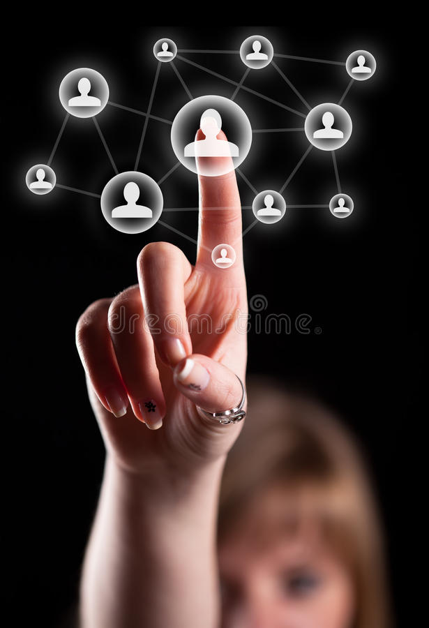Graphisme social de réseau de pressurage à la main image libre de droits