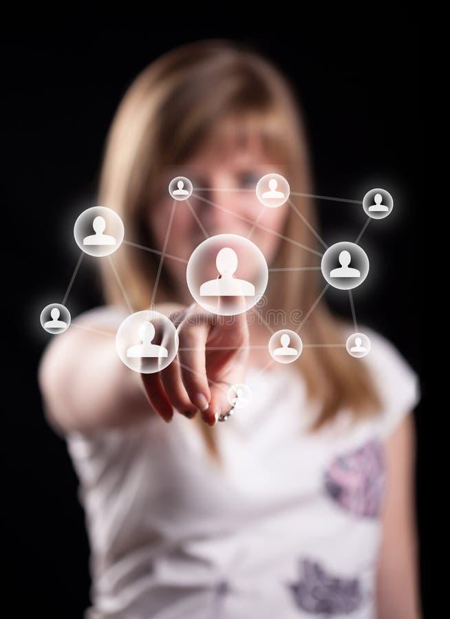 Graphisme social de réseau de pressurage à la main de femme photos libres de droits