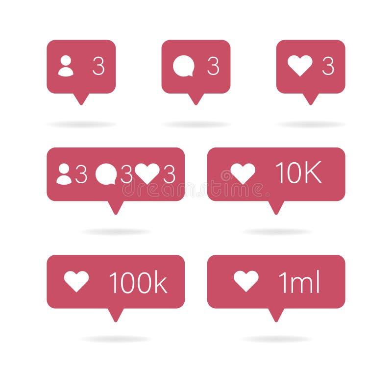 Graphisme social Les médias ont placé des icônes emballent Commentent, le bouton suivent et de coeurs Vecteur illustration de vecteur