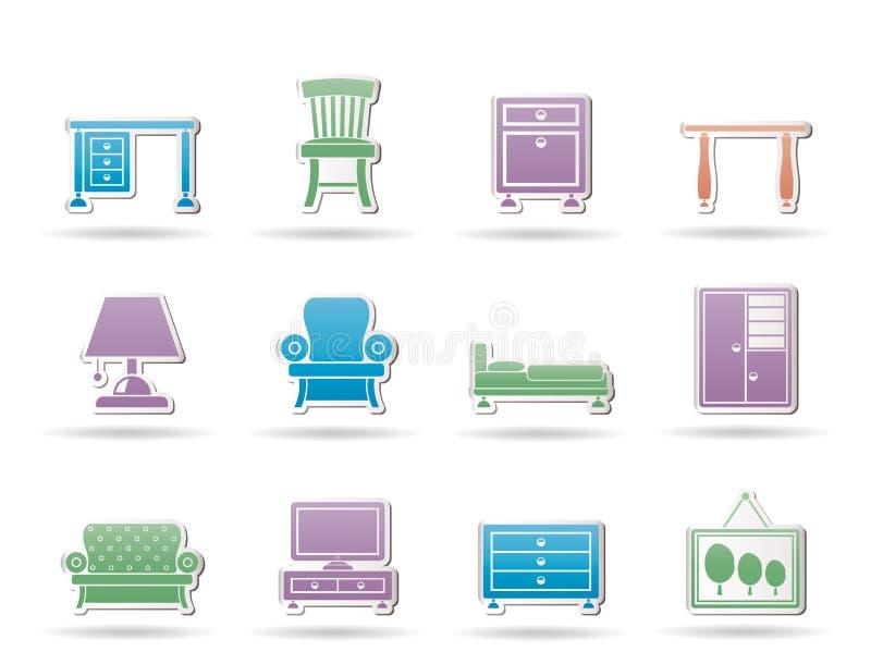 Graphismes à la maison de matériel et de meubles illustration de vecteur