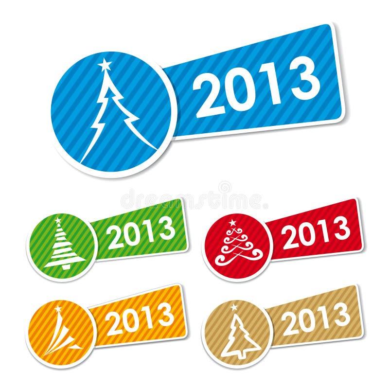 Graphismes 2013 et collants d'arbre de Noël illustration stock