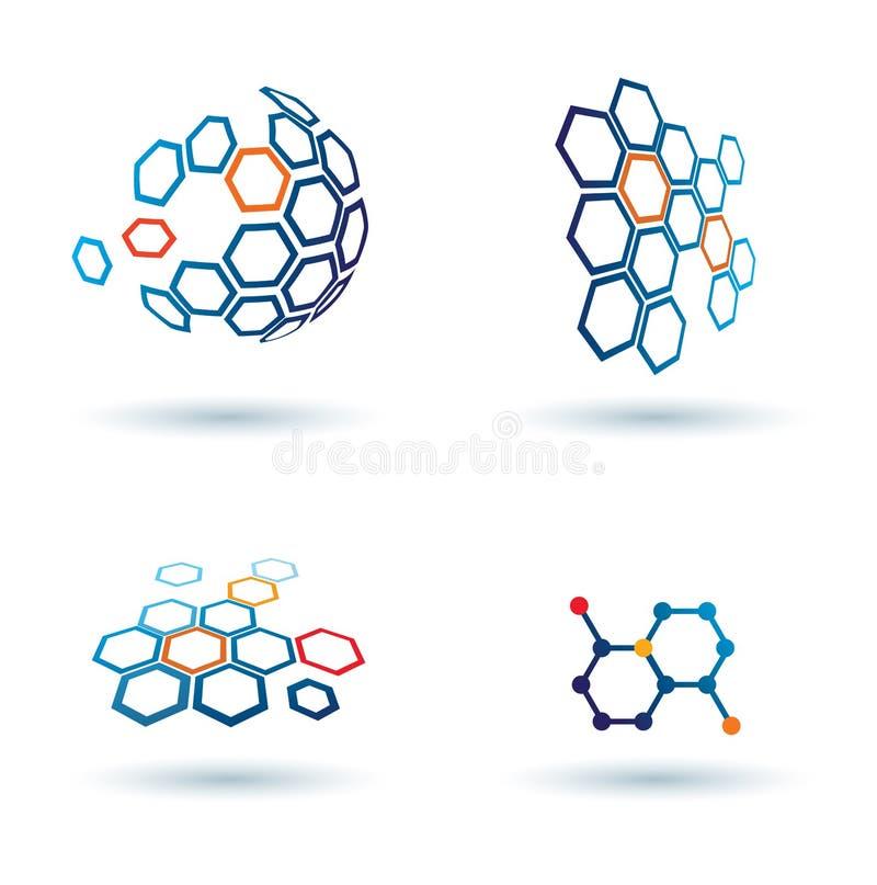 Graphismes abstraits hexagonaux, concepts d'affaires illustration de vecteur