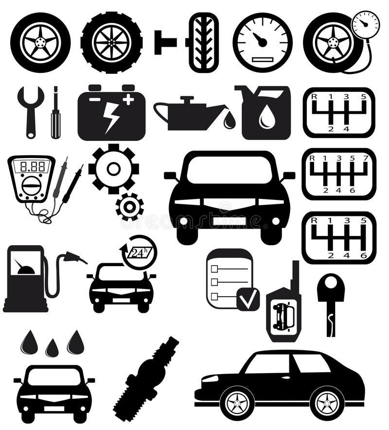 Graphismes automatiques noirs de vecteur réglés illustration stock