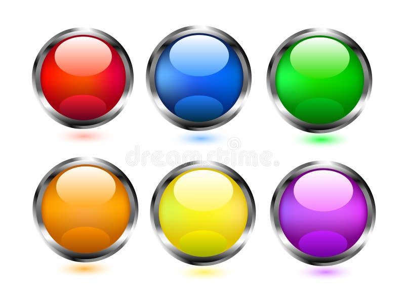 Graphismes colorés de boutons photos libres de droits