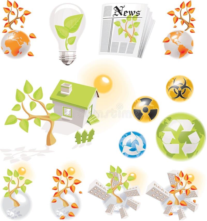 graphismes d'écologie réglés illustration stock