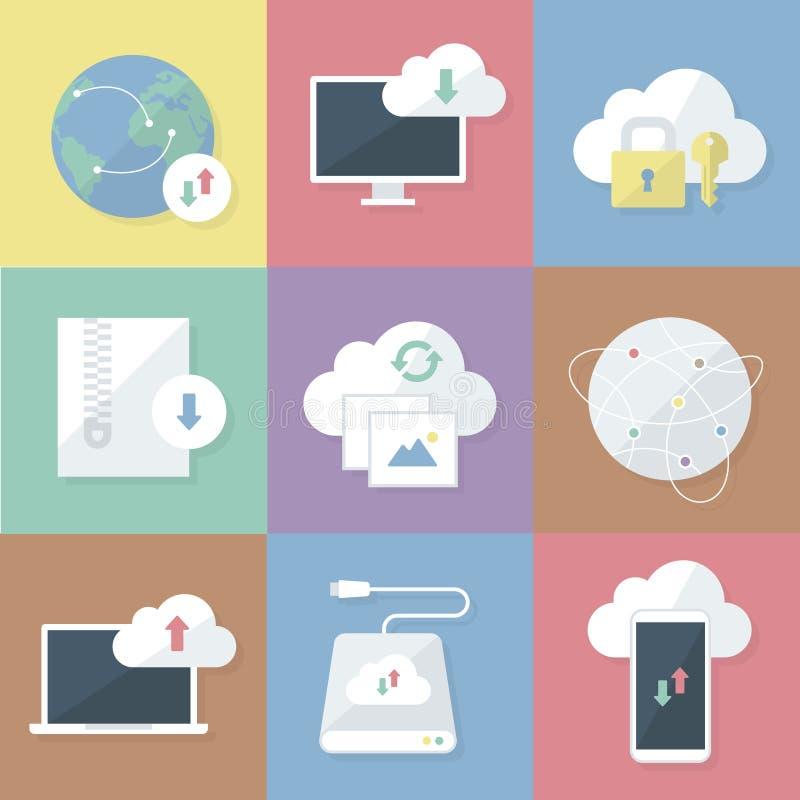 Graphismes d'affaires réglés Téléchargement et stockage de nuage Illustration plate de vecteur illustration libre de droits