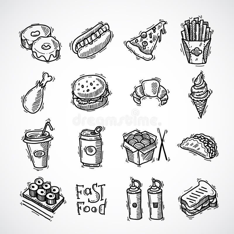 graphismes d'aliments de préparation rapide réglés illustration stock