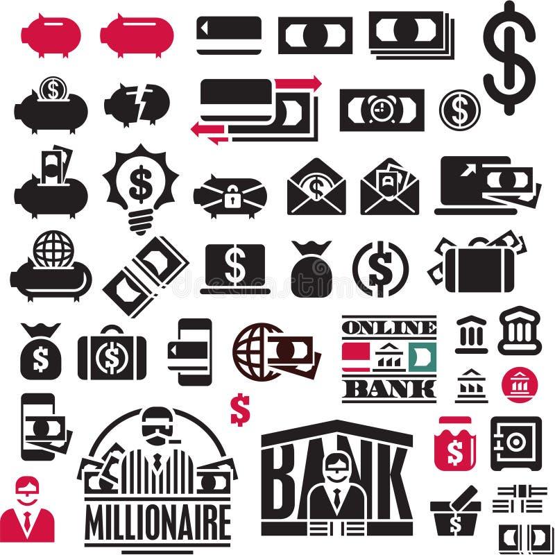 Graphismes d'argent réglés Collection d'icônes de finances Icônes d'opérations bancaires illustration de vecteur