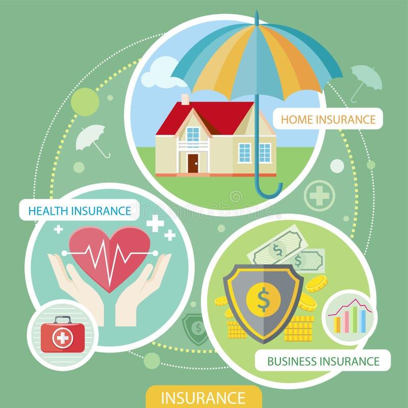 Graphismes d'assurance réglés illustration stock