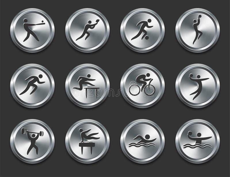 Graphismes d'athlètes de sport sur des boutons d'Internet en métal illustration libre de droits