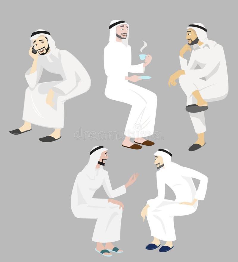Graphismes d'hommes de Khaliji en positions de séance illustration de vecteur