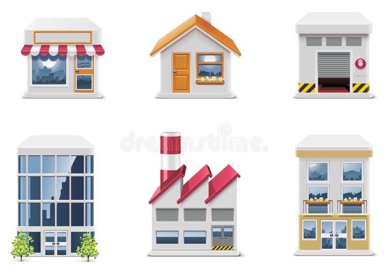Graphismes d'immeubles de vecteur. Partie illustration stock