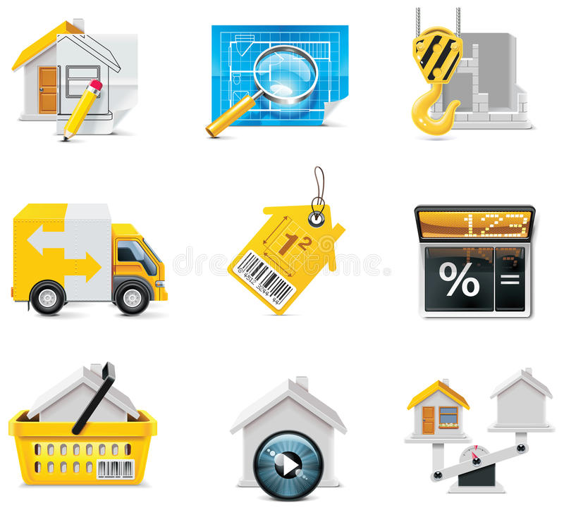 Graphismes d'immeubles de vecteur. Partie illustration libre de droits