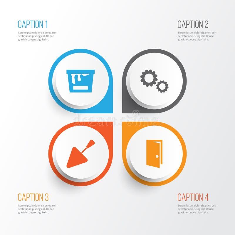 Graphismes d'industrie réglés Collection de spatule, de roue dentée, d'entrée et d'autres éléments Inclut également des symboles  illustration libre de droits