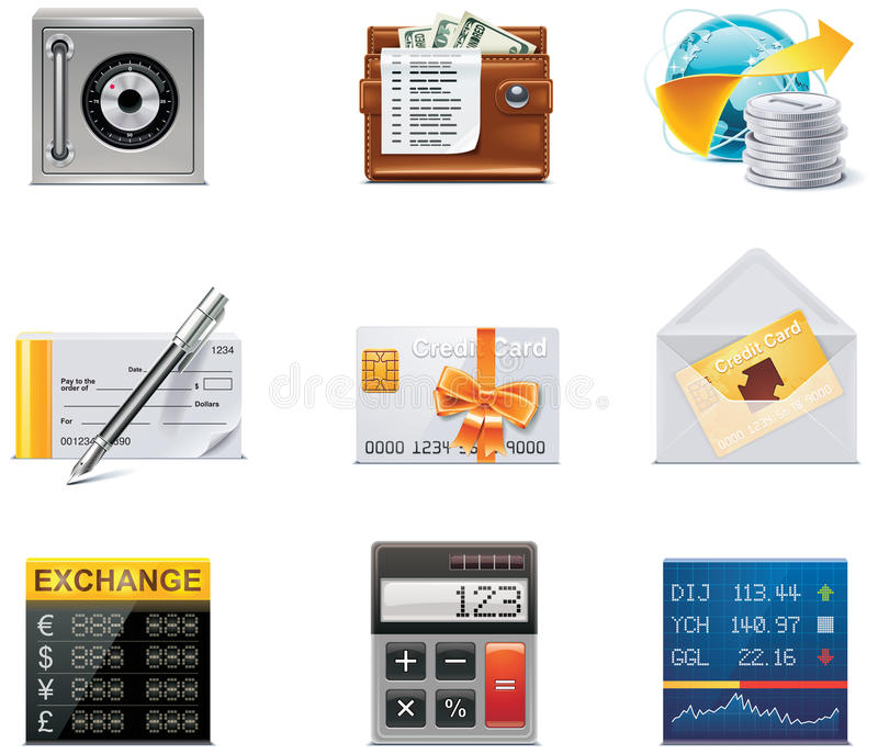Graphismes d'opérations bancaires de vecteur. Partie illustration de vecteur