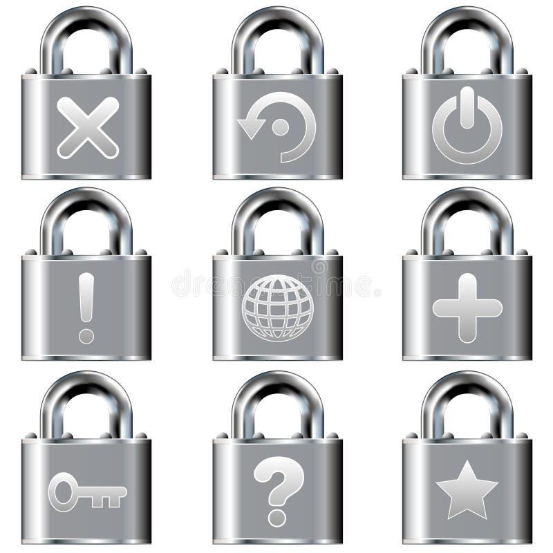 Graphismes d'ordinateur de bureau sur des boutons de blocage illustration libre de droits