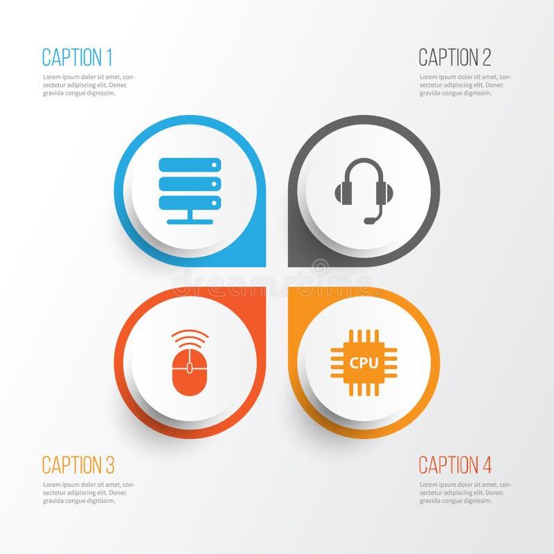 Graphismes d'ordinateur réglés Collection de carte mère illustration stock