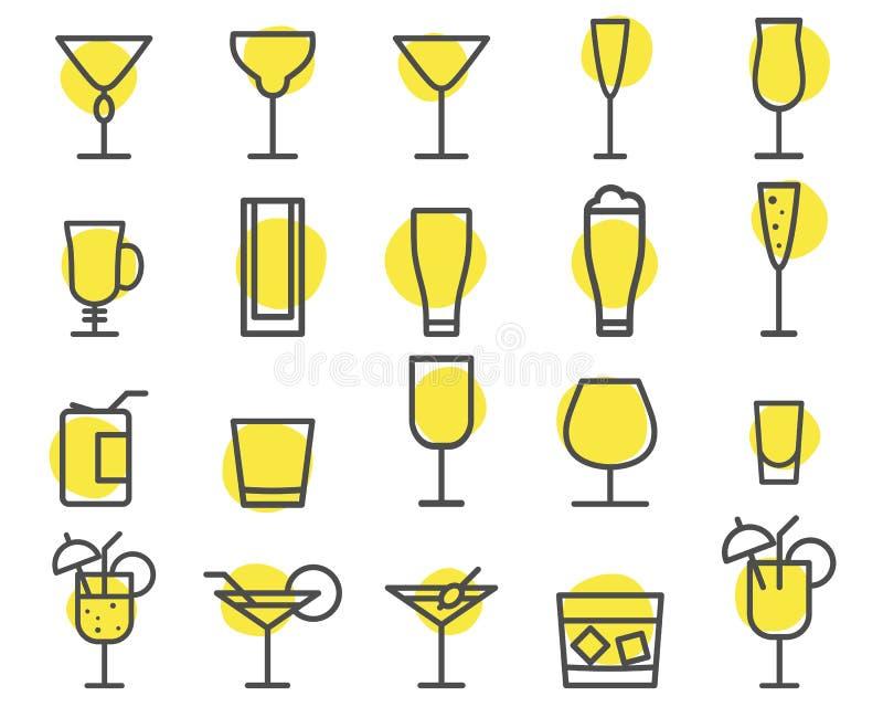 Graphismes de boisson réglés Cocktail, symboles d'ensemble de vecteur de boissons Bière, vin, emblèmes de cognac Ligne cocktails  illustration de vecteur