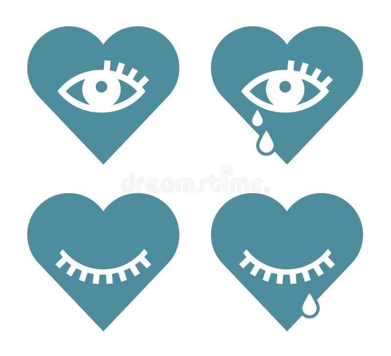 Graphismes de coeur et d'oeil illustration libre de droits