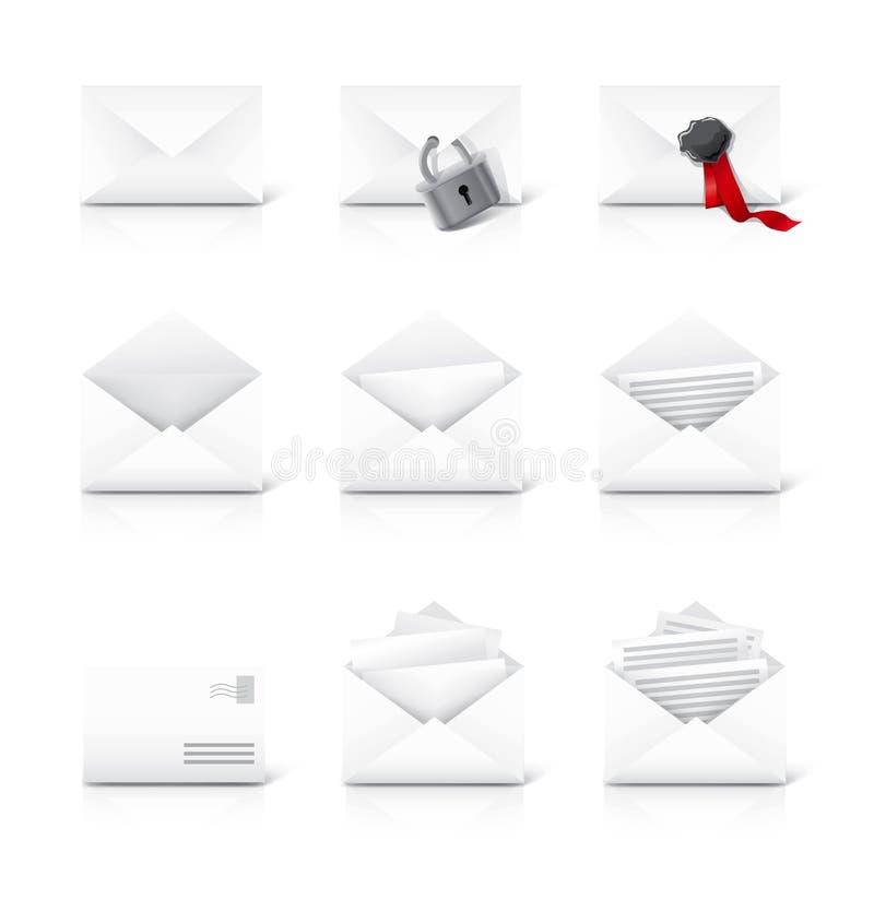 Graphismes de courrier de lettre réglés illustration stock