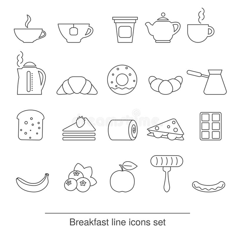 Graphismes de déjeuner réglés illustration libre de droits