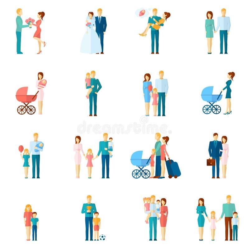 Graphismes de famille réglés illustration de vecteur