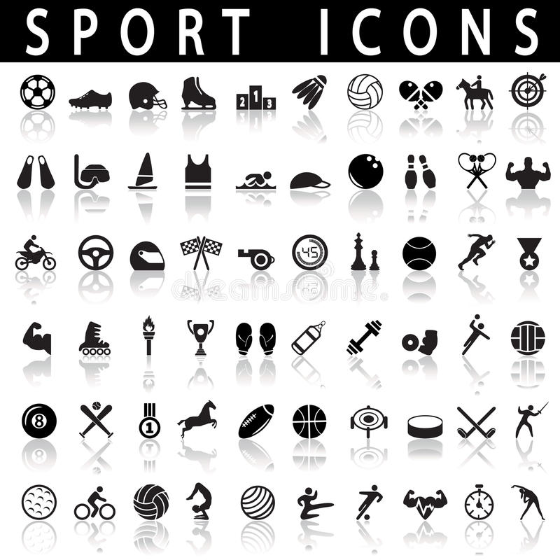 graphismes de forme physique sept sports de silhouettes illustration stock