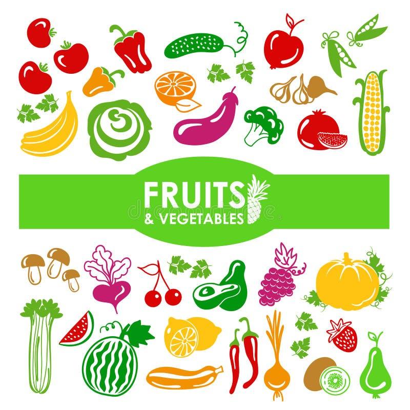 Graphismes de fruits et légumes illustration stock