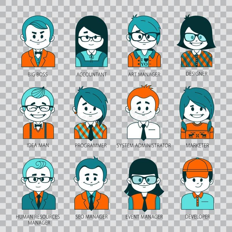 Graphismes de gens Avatars de personnes pour les réseaux sociaux illustration libre de droits
