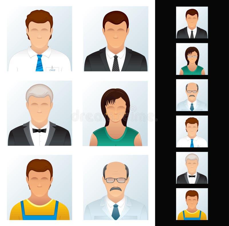 Graphismes de gens réglés. Divers peuples d'affaires. illustration stock
